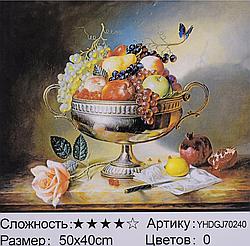 Картина по номерам + Алмазная мозаика 2в1 YHDGJ 72017 (30) 50х40см Павлин Натюрморт