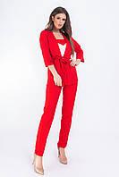 Костюм тройка женский стильный - брюки, майка и кардиган с поясом   арт 165, цвет красный, фото 1