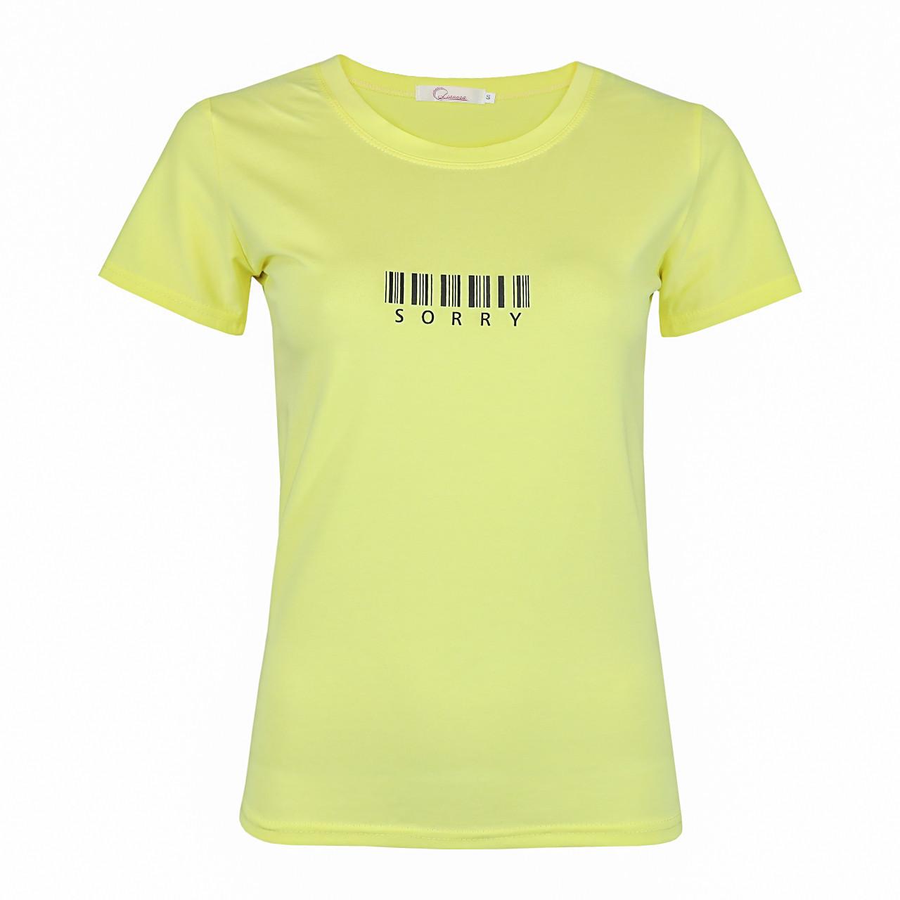Футболка жіноча жовта бавовна принт Sorry р. S-XL