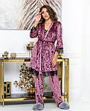 Женский комплект для дома Тройка Халат майка и штаны Размер 44 46 48 50 Разные цвета, фото 6