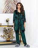 Женский комплект для дома Тройка Халат майка и штаны Размер 44 46 48 50 Разные цвета, фото 7