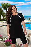 N183 Летний спортивный костюм футболка и бриджи черный/ черного цвета, фото 1