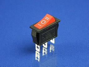 Кнопка красная, 3 положения, 3 контакта KCD3 (250V, 15A)