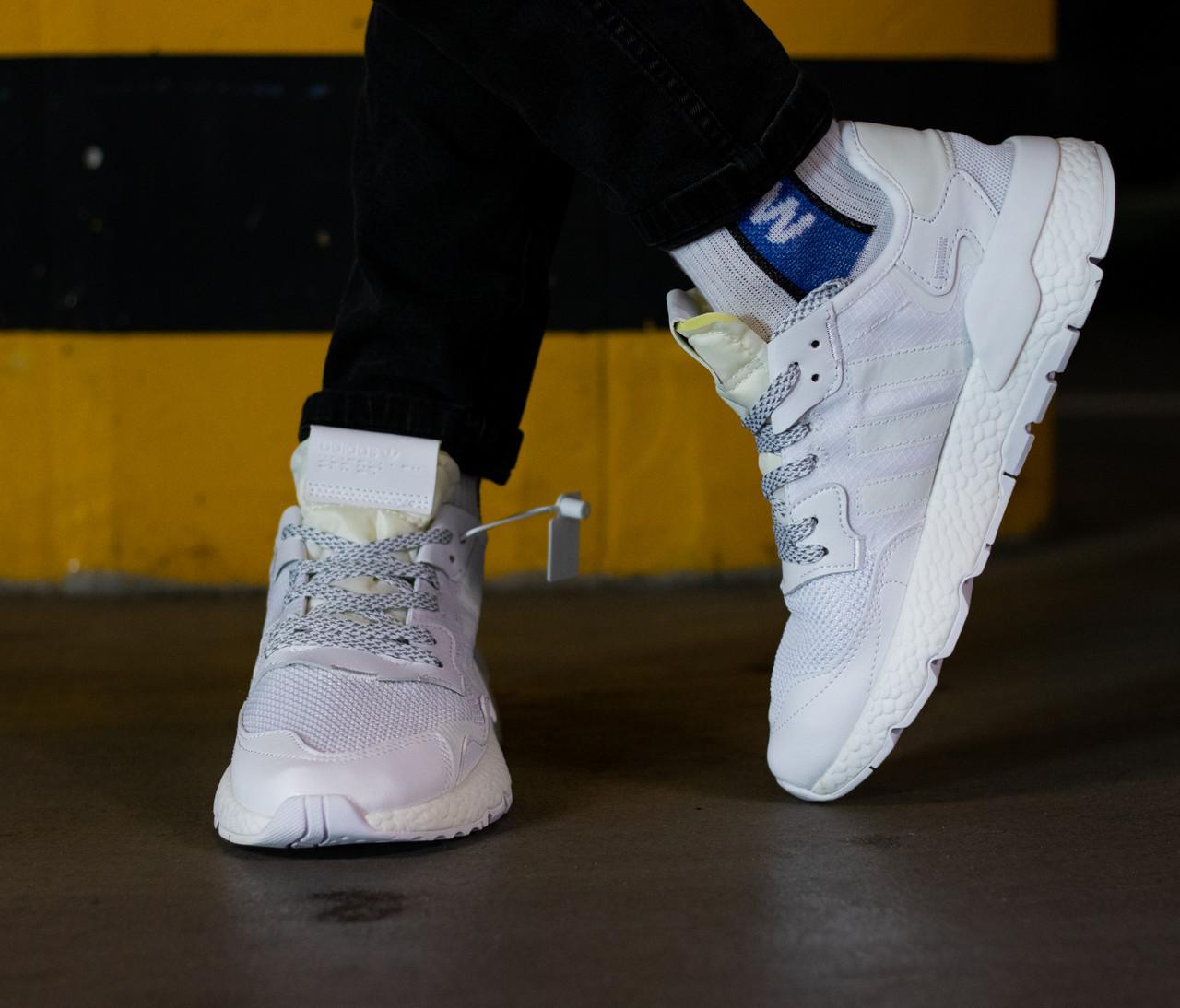 Кроссовки мужские Adidas Nite Jogger Triple White Адидас Найт Джоггер Белые