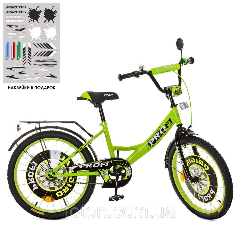 Велосипед детский PROF1 20д. XD2042 (1шт) Original boy,салатово-черный,свет,звонок,зерк.,подножка Н