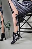 Ботинки женские кожа наплак черные на небольшом каблуке зимние, фото 5