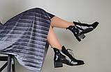 Ботинки женские кожа наплак черные на небольшом каблуке зимние, фото 6