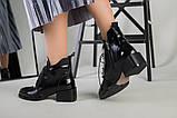 Ботинки женские кожа наплак черные на небольшом каблуке зимние, фото 7