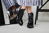 Ботинки женские кожа наплак черные на небольшом каблуке зимние, фото 8