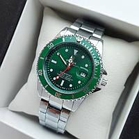 Мужские наручные часы Rolex Submariner (ролекс) серебристого цвета c зеленым циферблатом, дата - код 1859
