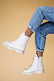 Ботинки женские кожа флотар бежевые, на шнурках, с молнией, зима, фото 4