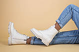 Ботинки женские кожа флотар бежевые, на шнурках, с молнией, зима, фото 5