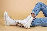 Ботинки женские кожа флотар бежевые, на шнурках, с молнией, зима, фото 6