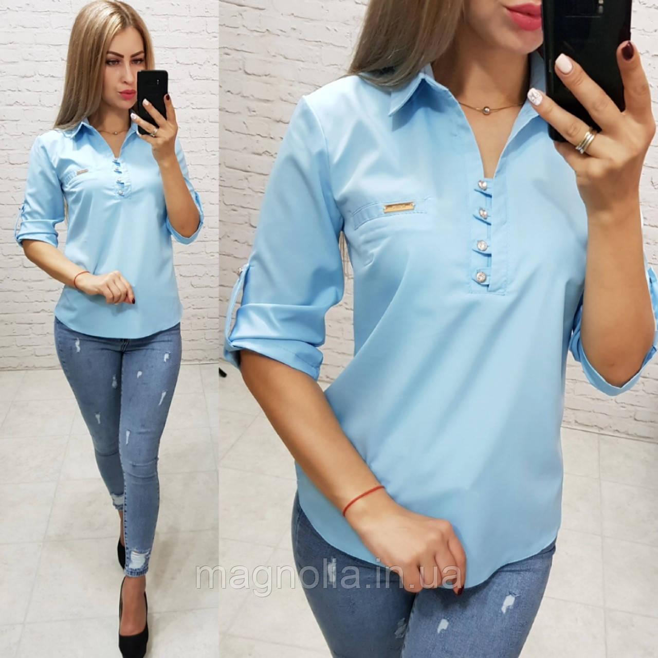 Рубашка / блуза / блузка арт. 828 голубая / голубой цвет / светло-голубая