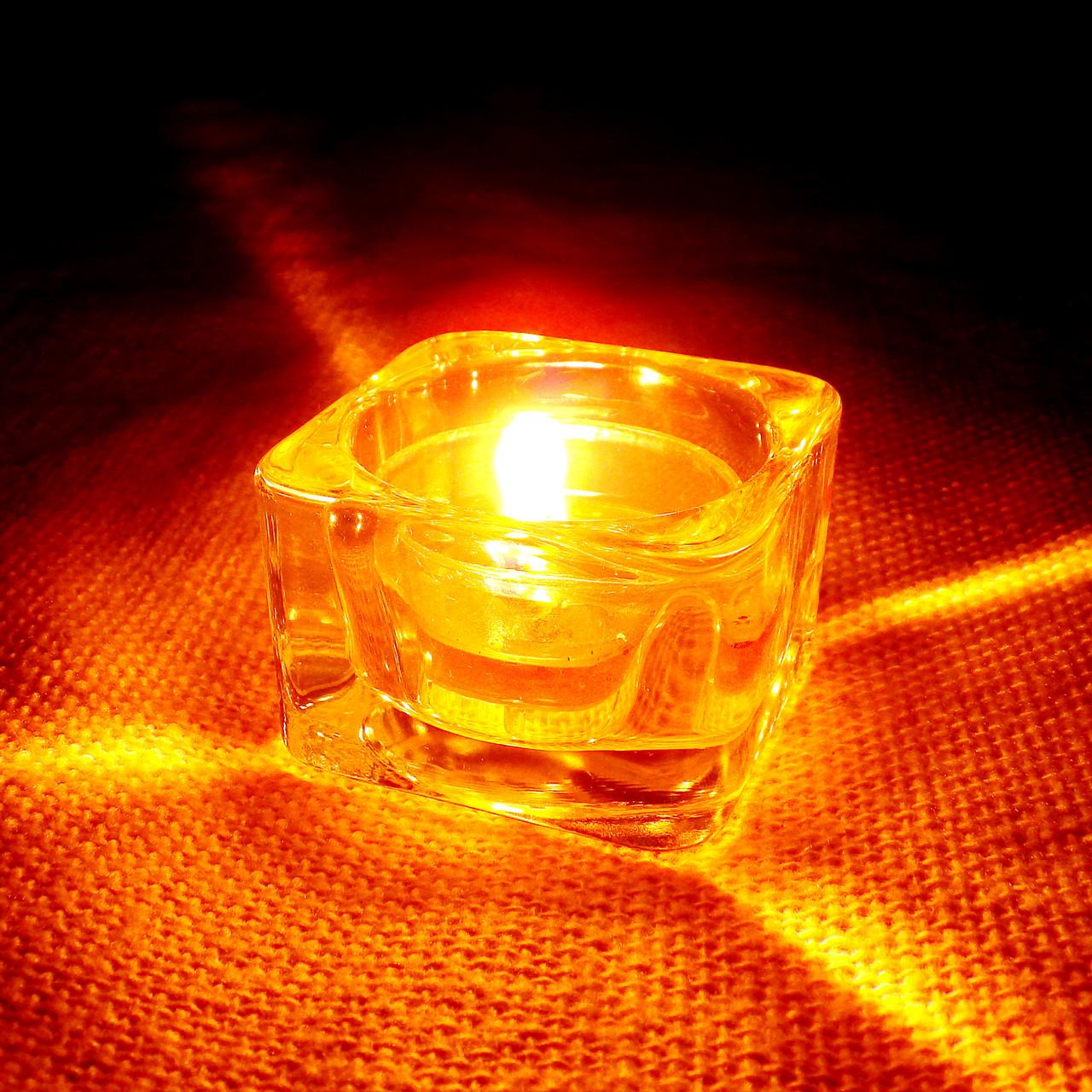 Стильный настольный квадратный стеклянный подсвечник для чайных свечей