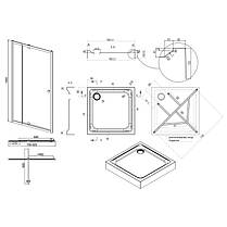 Набір Qtap двері в нішу Pisces WHI208-9.CP5 + піддон Unisquare 309915, фото 2
