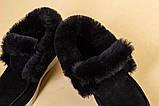 Лоферы женские замшевые черные с опушкой на светлой подошве, фото 9
