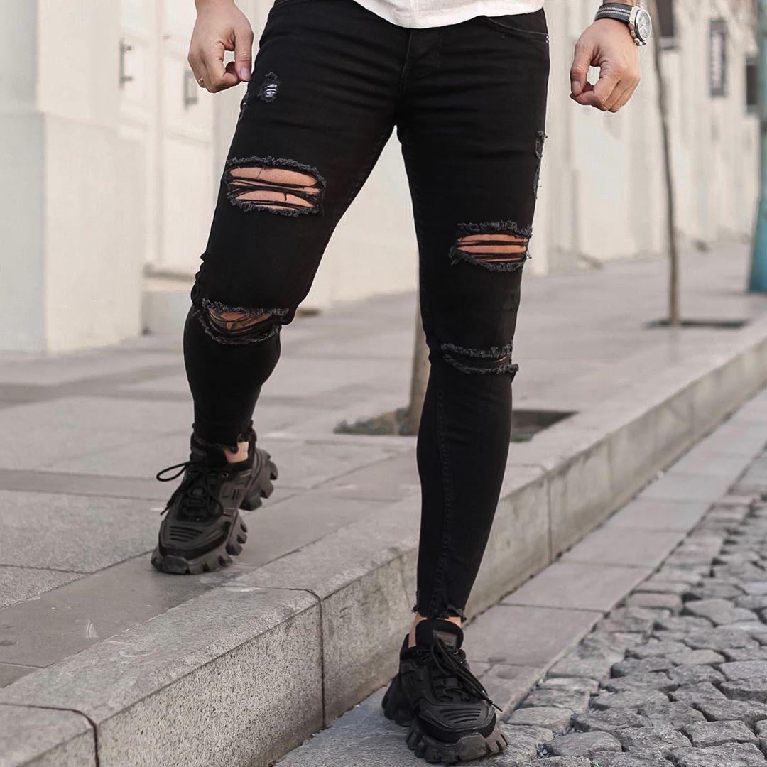 Чоловічі джинси чорні рвані dmp 105