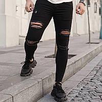 Чоловічі джинси чорні рвані dmp 105, фото 1