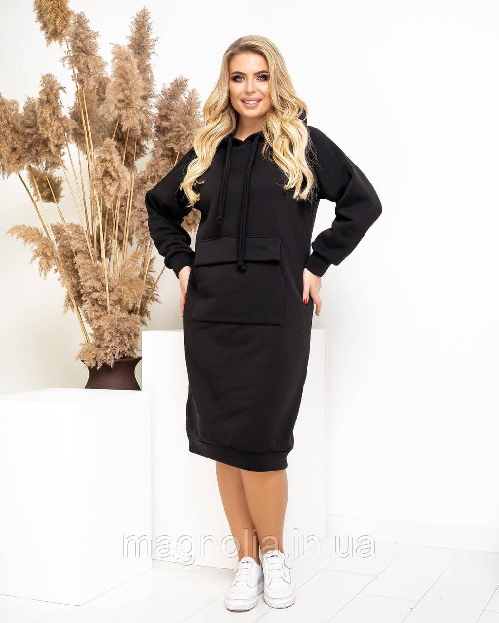 Спортивное женское платье на флисе, черное, А5022