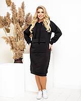 Спортивное женское платье на флисе, черное, А5022, фото 1