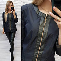 Жакет / пиджак ветровка с подкладкой рукав 3/4 + эко кожа арт. S1096 синий / синего цвета, фото 1