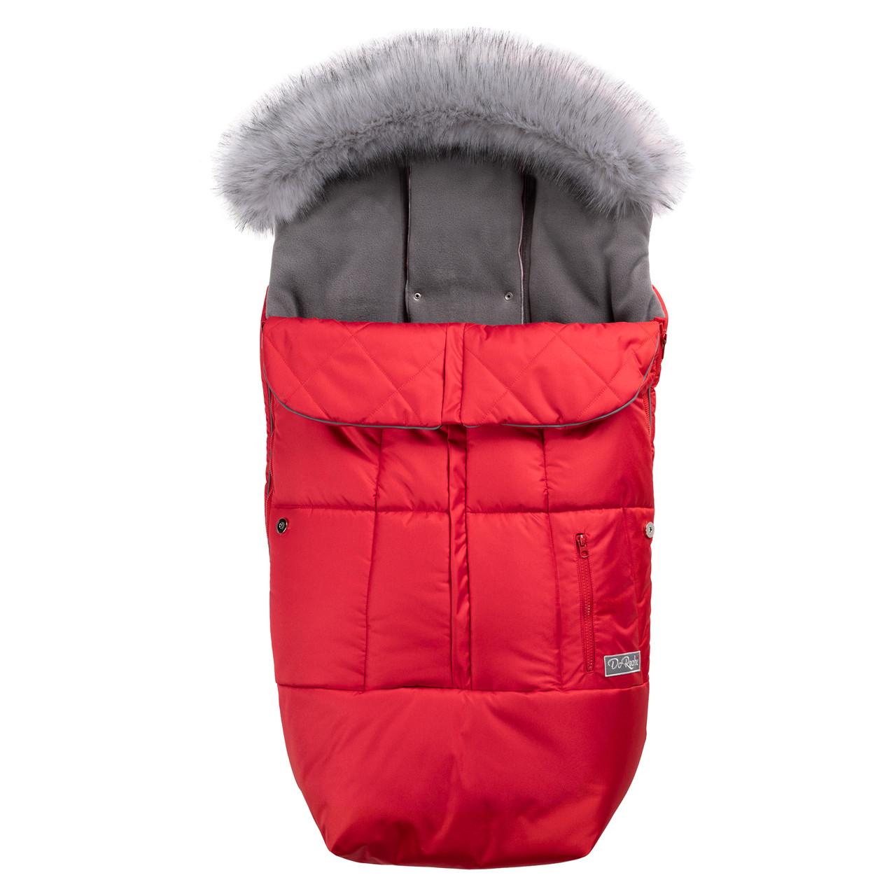 Зимний конверт в коляску на флисе с меховой опушкой, чехол для коляски Trend красный