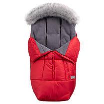 Зимний конверт в коляску на флисе с меховой опушкой, чехол для коляски Trend красный, фото 2