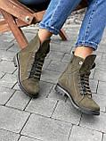 Женские ботинки кожаные зимние зеленые Vikont 7-7-32, фото 4