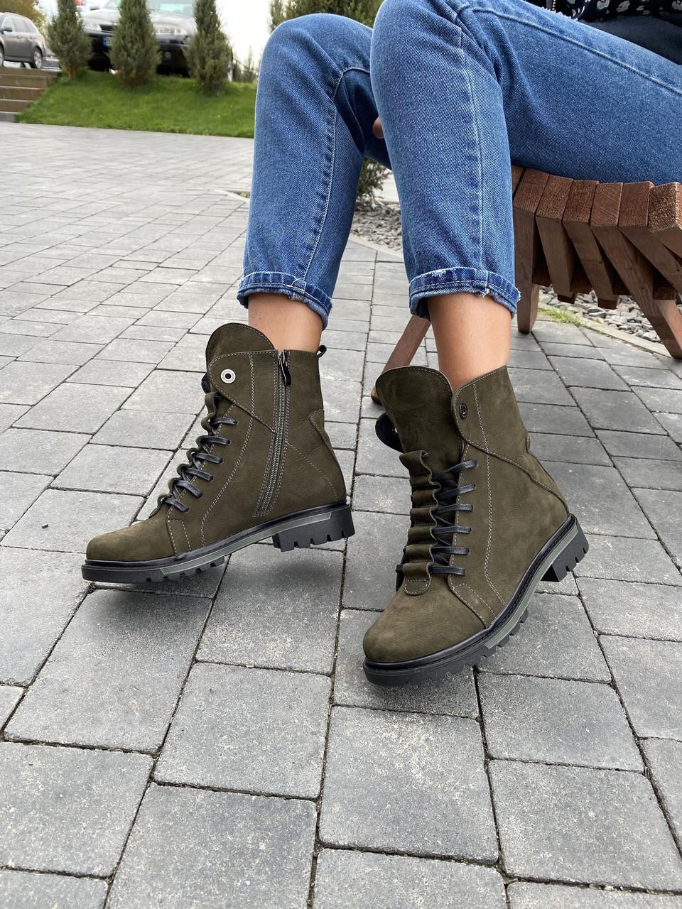 Жіночі черевики шкіряні зимові зелені Vikont 7-7-32