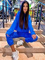 Спортивный костюм с начесом женский с укороченным худи и штанами (р. 42-46) 5msp1183, фото 1