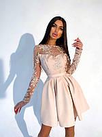 Сукня з пишною спідницею і верхом з сітки з мереживом, довгий рукав (р. 42, 44) 66032025Е, фото 1
