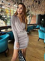 Платье на запах с облегающей юбкой коктельное с длинным рукавом (р.42, 44) 36mpl2033, фото 1