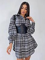 Байковое платье - рубашка в клетку с длинным рукавом и асимметрией (р. 42-44) 66mpl2042Е, фото 1