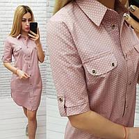 Арт 827 Женское платье-рубашка в горошек, розовое/ пудровое/ пудра/ розового цвета/ бледно-розовое