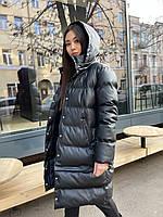 Куртка - трансформер зимняя из экокожи женская со съемным капюшоном наполнитель экопух (р. 42-46) 84mku576, фото 1