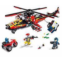 Игровой конструктор детский Qman Вертолет минифигурки и 654 дет. Развивающая игрушка для мальчиков от 6 лет