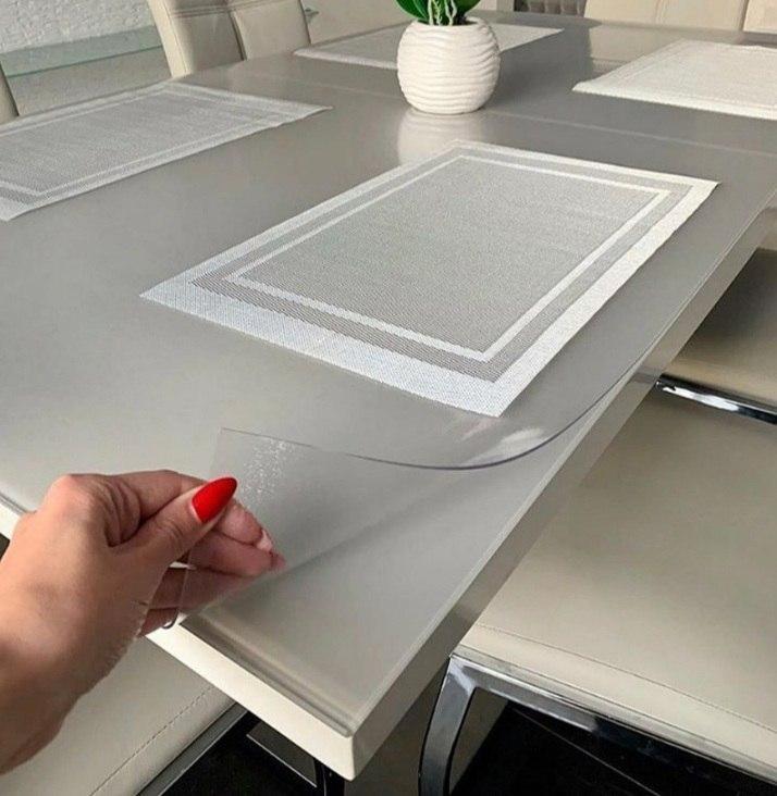 Мягкое стекло матовое 1,5 мм 100*110 см силиконовая прозрачная скатерть на стол, ПВХ Силиконовая скатерть