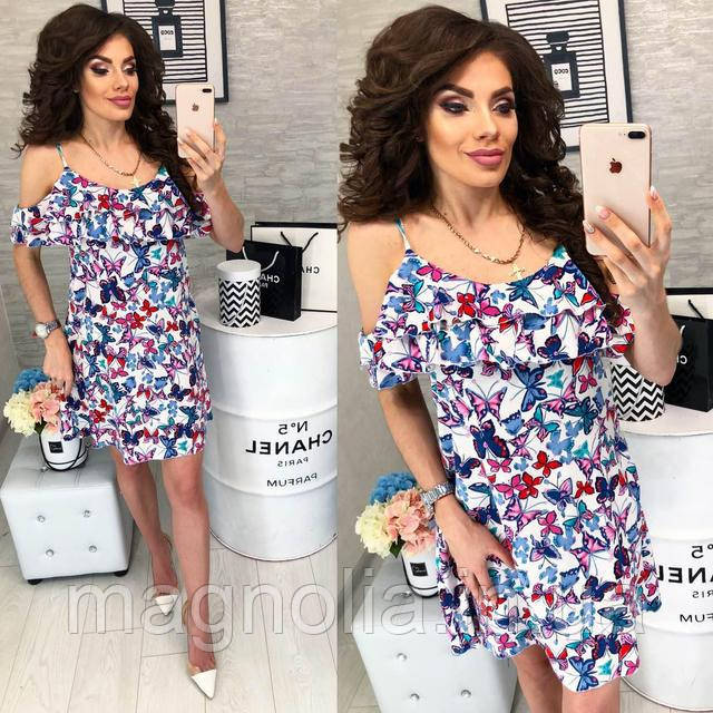 Платье короткое ,летнее  с воланом, модель 102,  принт голубые бабочки на белом фоне