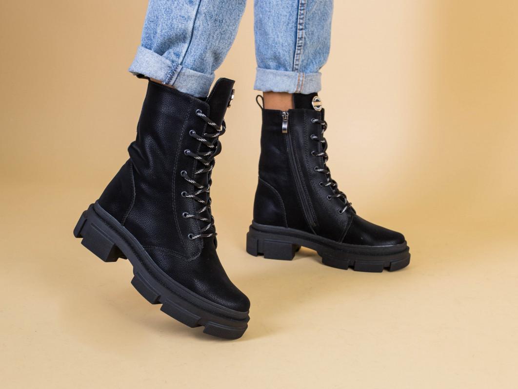Ботинки женские кожаные черные на шнурках и с замком, зимние