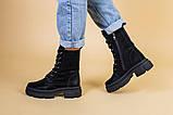 Ботинки женские кожаные черные на шнурках и с замком, зимние, фото 3