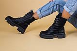 Черевики жіночі шкіряні чорні на шнурках і з замком, зимові, фото 4