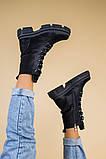 Черевики жіночі шкіряні чорні на шнурках і з замком, зимові, фото 5