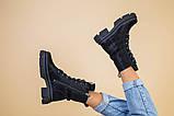 Черевики жіночі шкіряні чорні на шнурках і з замком, зимові, фото 6