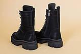 Ботинки женские кожаные черные на шнурках и с замком, зимние, фото 10