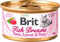 Brit Fish Dreams Tuna, Carrot & Peas Влажный корм с тунцом, морковью и горохом для кошек 80 г