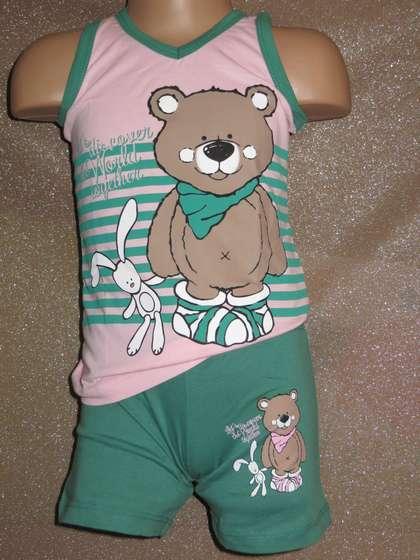 Літня піжаму для дівчинки набір шортики і футболочка оптом