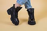 Черевики жіночі шкіряні чорні на шнурках, зима, фото 2
