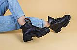 Черевики жіночі шкіряні чорні на шнурках, зима, фото 3