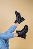 Черевики жіночі шкіряні чорні на шнурках, зима, фото 4